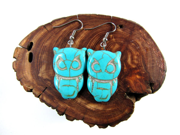 Turquoise Owl Earrings, Turquoise Stone Earrings, Stone Owl, Hypoallergenic Earrings, Handmade Jewelry, Trendy Jewelry, Boho Stone Jewelry