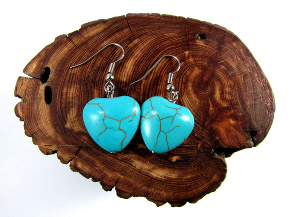 Turquoise Stone Earrings, Hypoallergenic Earrings, Surgical Steel Earrings, Handmade Jewelry, Trendy Jewelry, Boho Stone Jewelry