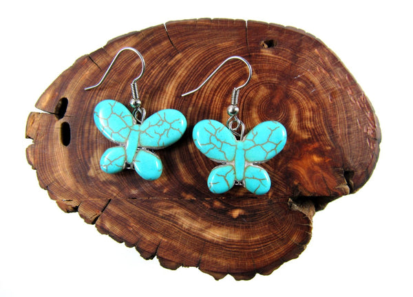 Turquoise Butterfly Earrings, Turquoise Stone Earrings, Stone Butterfly Hypoallergenic Earrings, Handmade Jewelry, Trendy Boho Stone Jewelry