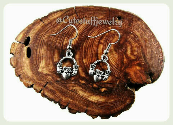 Hypoallergenic Claddagh Earrings, Surgical Steel Hooks, Hypoallergenic Earrings, Irish Wedding, Handmade Jewelry, Bridal, Bridesmaids