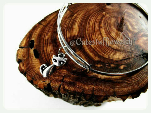 Kitty Cat Bangle, Adjustable Cat Bracelet, Cat Bangle, Kitty Cat Bracelet, Handmade Cat Jewelry, Mew Bangle, Mew Bracelet, Cat Lady, Kitten