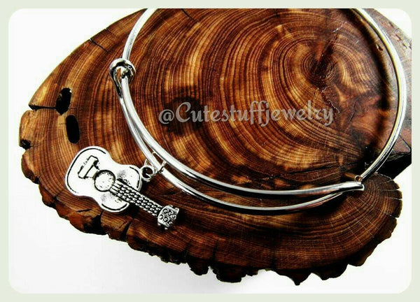 Guitar Bangle Bracelet, Guitar Player Bracelet, Musician Bracelet, Music Bangle Bracelet, Handmade Bangle Bracelet, Gift Music Jewelry, Boho