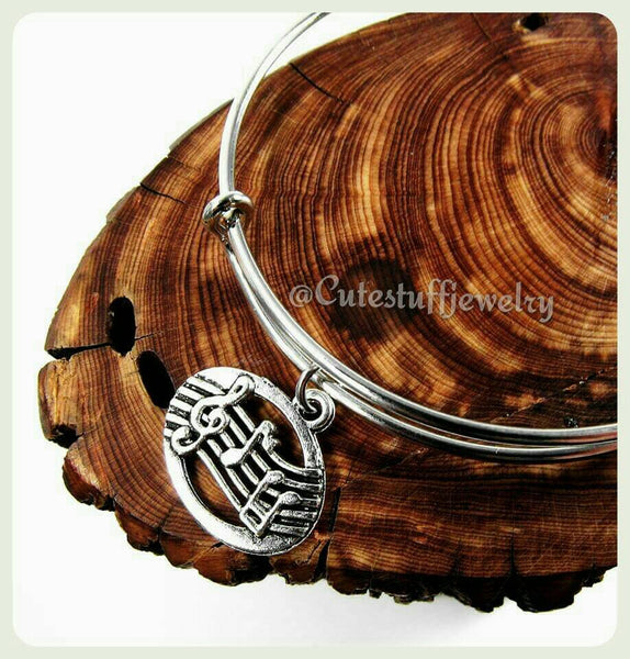 Music Notes Bracelet, Music Notes Bangle, Musician Bracelet, Music Bangle Bracelet, Handmade Bangle Bracelet, Gift Music Jewelry, Boho