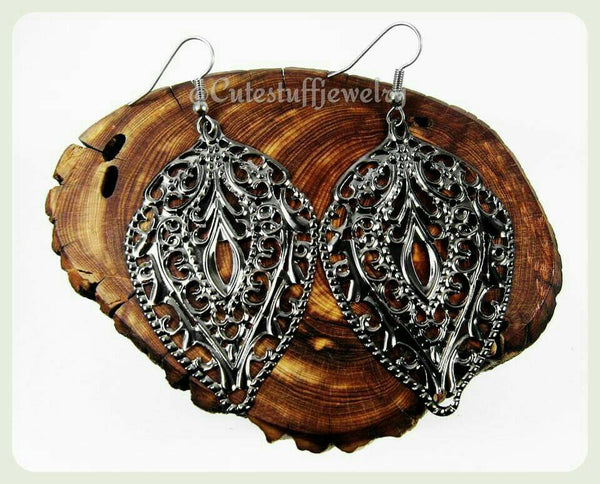 Gunmetal Filigree Earrings, Gunmetal Boho Earrings,  Surgical Steel Earrings, Surgical Steel Hooks,  Hypoallergenic Jewelry, Trendy Gift