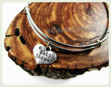 Baby Shower Bangle, Baby Shower Bracelet, Mom to be Bracelet, Baby Heart, Heart Adjustable Bangle, Baby Shower Gift, Handmade Baby Jewelry
