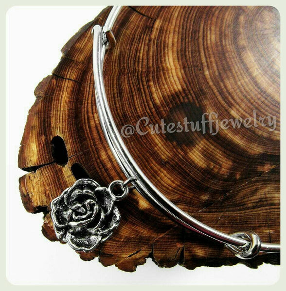 Silver Rose Bangle, Antique Silver Rose Bracelet, Handmade Rose Jewelry, Roses, Bridal Party, Handmade Bridal Party Gift, Bridesmaids