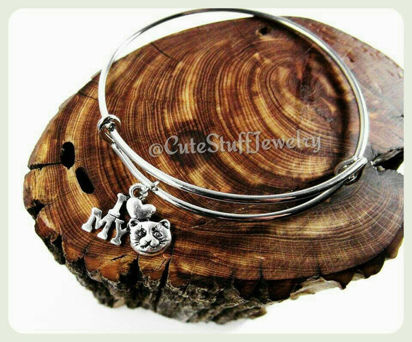 I Love My Cat Bangle, I Love My Cat Bracelet, Cat Bangle Bracelet, Kitty Cat Bracelet, Crazy Cat Lady Bracelet, Handmade Cat Jewelry, Kitten