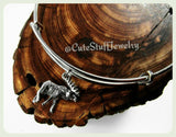 Handmade Moose Bracelet, Silver Moose Bangle, Adjustable Bangle Bracelet, Wildlife Jewelry, New England Animals, Trendy Holiday Gift Jewelry