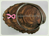Breast Cancer Ribbon Bracelet, Heart Pink Ribbon Bangle