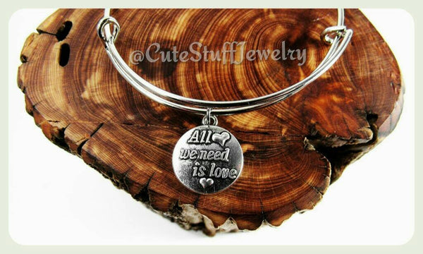 All We Need Is Love Bangle, All We Need Is Love Bracelet, Handmade Love Jewelry, Inspirational Bracelet, Inspirational Bangle, Boho