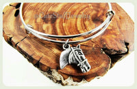 Silver Horse Bracelet, Horse Bangle, Horseback Riding Bracelet, Handmade Horse Jewelry, Equestrian Bracelet, Horse Head Ranch Jewelry