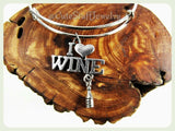 I Love Wine Bracelet, I Love Wine Bangle, I Heart Wine, Handmade Wine Jewelry, Gift for the Girls, Wine Lady, Adjustable Bangle