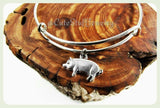Silver Pig Bracelet, Pig Bangle, Piglet Bracelet, Handmade Pig Jewelry, Farm Bracelet, Farm Animal Jewelry, Piggy