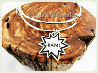 Comic Book Bracelet,  Comic Book Bangle, BAM! Comic Bracelet, BAM! Comic Bangle Bracelet, Handmade Geek Jewelry