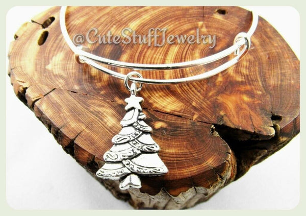 Christmas Tree Bracelet, Christmas Tree Bangle, Xmas Tree Bracelet, Handmade Holiday Jewelry, Holiday Gift, Merry Christmas, Trees