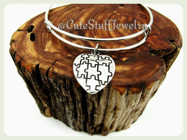 Autism Awareness Bracelet,  Autism Awareness Bangle, Puzzle Piece Bracelet, Adjustable Wire Bangle Bracelet, Autism Awareness Jewelry