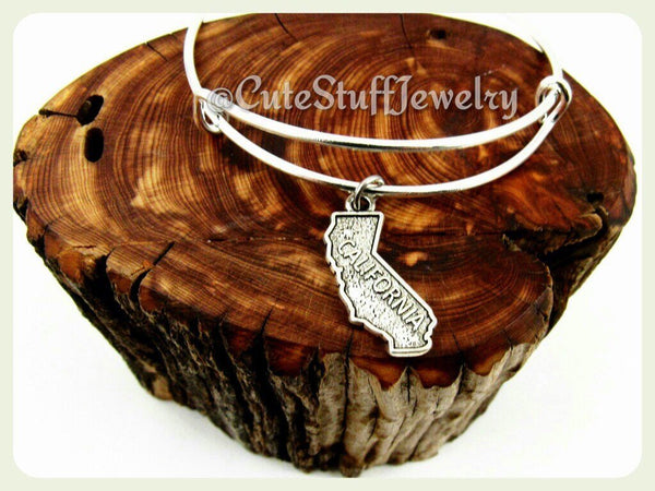 California State Bracelet, State of California Bangle, Handmade CA Bracelet, CA Bangle, California Bracelet, California Jewelry, Californian