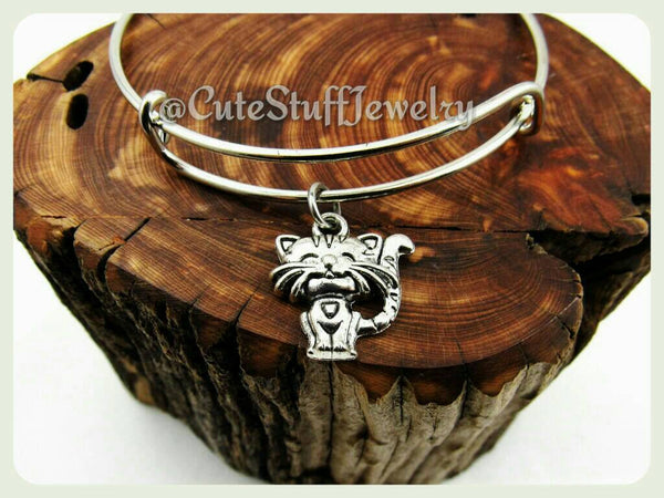 Kitty Cat Bangle, Adjustable Cat Bracelet