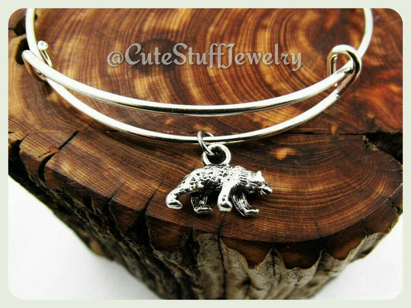 Silver Bear Bracelet, Bear Bangle, Handmade Bear Jewelry, Adjustable Bangle Bracelet, Wildlife Jewelry, Wild Animals, Bear Gift