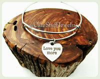 Love You More Bracelet, I Love You More Bangle, Handmade Love Jewelry, Antique Silver Love Bracelet, Love Bangle Gift