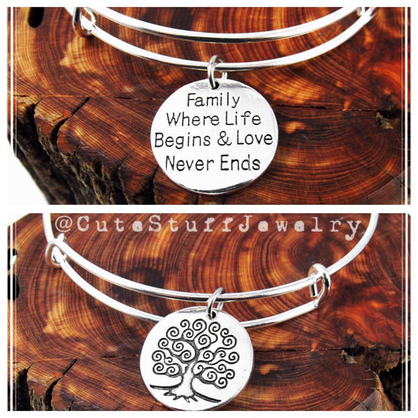 Family Tree Bracelet, Family where life begins & love never ends bracelet, Family Tree Bangle, Handmade Family Jewelry, Families