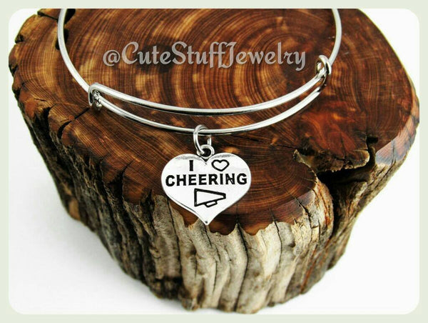 I Love Cheering Bracelet, I Love Cheering Bangle, Cheerleader Bangle, Handmade Cheering Jewelry,  Cheerleader Bracelet, I heart Cheering
