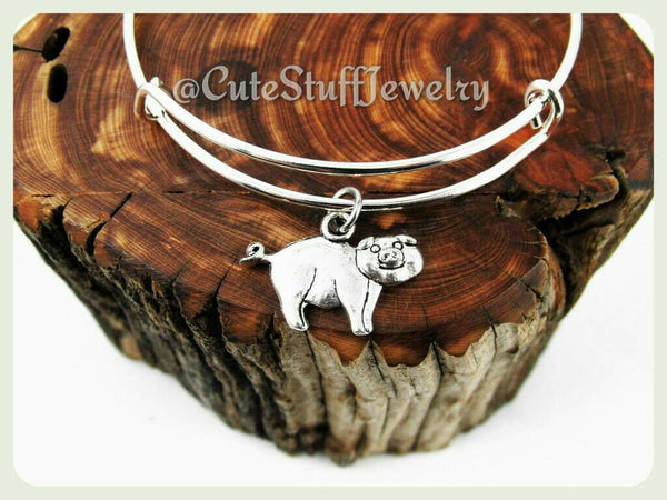 Piggy Bracelet, Happy Pig Bracelet, Silver Pig Bangle, Piglet Bracelet, Handmade Pig Jewelry, Farm Bracelet, Farm Animal Jewelry, Gift