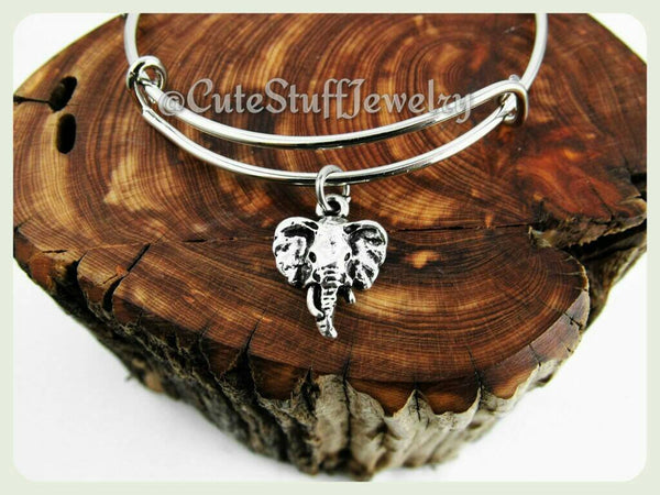 Elephant Head Bracelet, Silver Elephant Bangle, Elephant Head, Trunks up for luck, Animal Jewelry, Handmade Elephant Jewelry, Boho Trendy