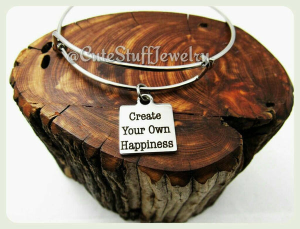 Create Your Own Happiness Bracelet, Create Happiness Bangle, Happiness Bracelet, Happiness Jewelry, Handmade Inspirational Jewelry, Happy