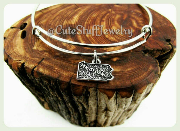 State of Pennsylvania Bracelet, State of Pennsylvania Bangle, Handmade PA Bracelet, PA Bangle, Handmade Pennsylvania Jewelry, PA Dutch