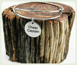 Cheer Captain Bracelet, Cheer Captain Bangle, Cheerleader Bangle, Handmade Cheerleading Jewelry,  Cheerleader Bracelet, Cheerleading bangle