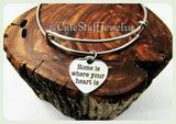 Home is Where Your Heart Is Bracelet, Heart of the Home Bangle, Handmade Inspirational Jewelry, New Home Gift, Home is Family, Heart & Home