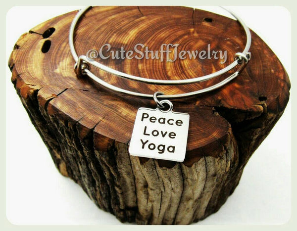Peace Love Yoga Bracelet, Peace Love Yoga Bangle, Handmade Yoga Jewelry, Yoga Accessory, Boho Trendy Gift, Namaste