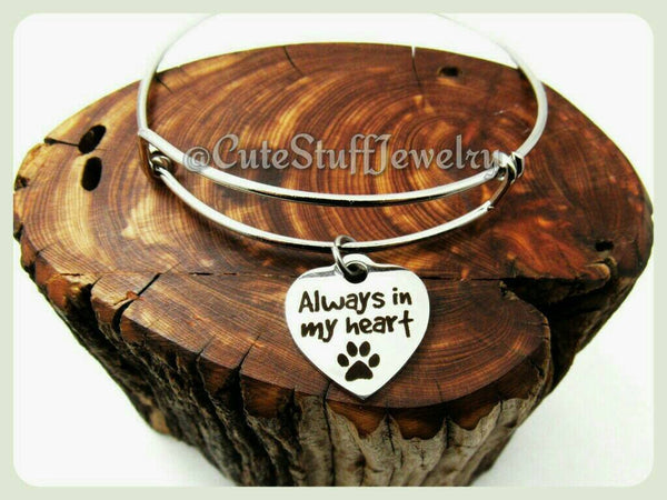 Always in my heart Bracelet, Always in my heart Bangle, Handmade Pet Jewelry, Dog Bracelet, Dog Bangle, Cat Bracelet, Pawprints, Rescues