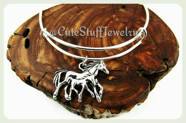 Mother Baby Horses Bracelet, Horse Bangle