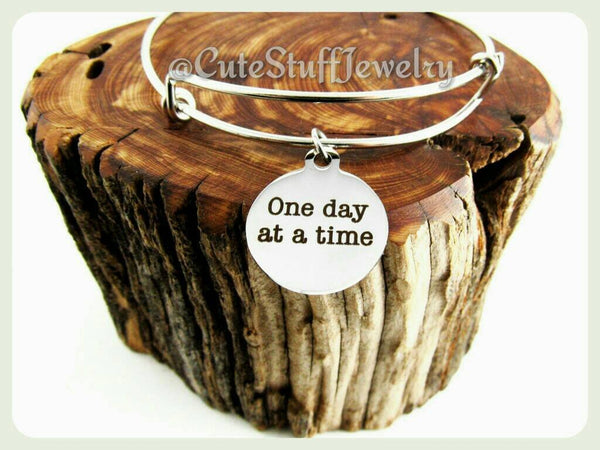 One Day At A Time Bracelet, One Day At A Time Bangle, Handmade Inspirational Jewelry, Inspirational  Accessory, Boho Trendy Gift