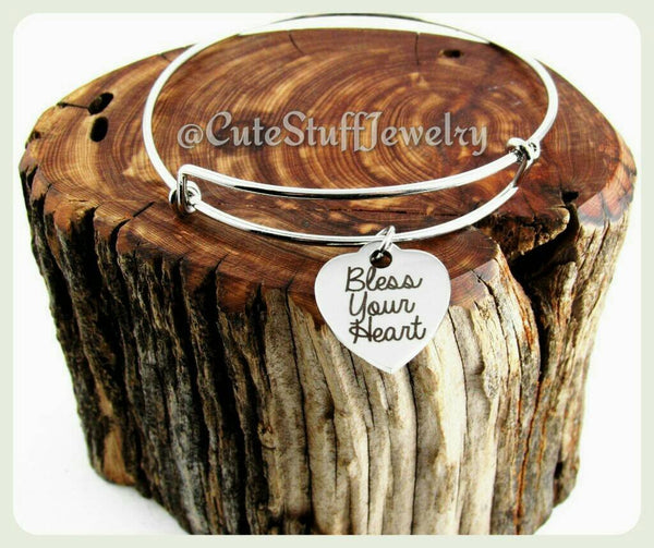 Bless Your Heart Bracelet, Bless Your Heart Bangle, Handmade Inspirational Jewelry, Inspirational  Accessory, Bless Your Heart Jewelry, Gift