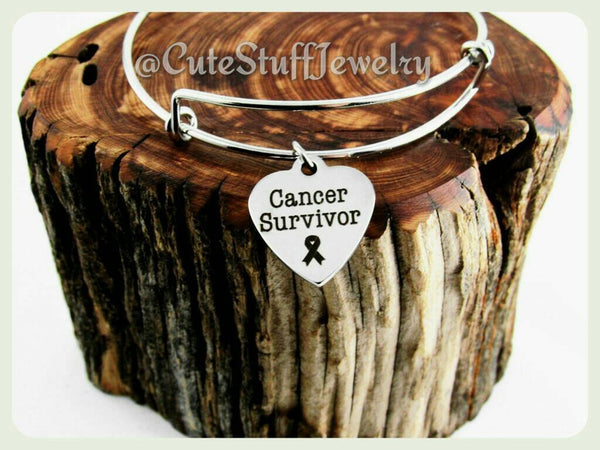 Cancer Survivor  Bracelet, Cancer Survivor Bangle, Handmade Cancer Survivor Jewelry, Cancer Survivor Gift, Cancer Fighter