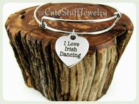 I Love Irish Dancing Bracelet, I Love Irish Dancing Bangle, Handmade Irish Dancing Jewelry, I Heart Irish Dancing Bracelet, Irish Dancers