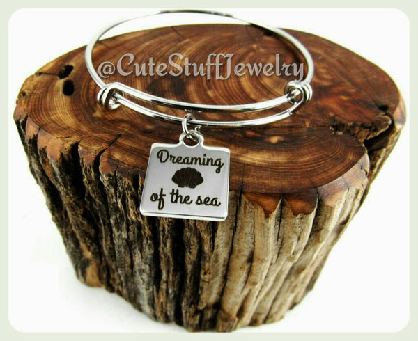Dreaming of the Sea Bracelet, Dreaming of the Sea Bangle, Handmade Inspirational Jewelry, Sea Jewelry, Beachy Gift, Beach Bracelet, Summer