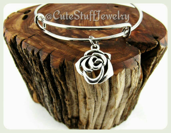 Rose Bangle Bracelet, Silver Rose, Charm Bracelet, Flower Bangle Bracelet, Adjustable Roses Bracelet, Bridesmaids Gift, Handmade Jewelry