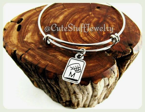 Sign Language Letter Bracelet, Sign Language Initial Bangle, Handmade Sign Language Jewelry, ASL Jewelry, ASL Teacher Gift