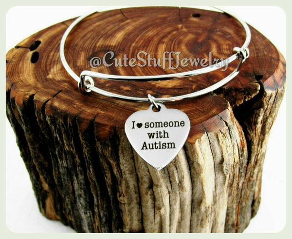 I love someone with Autism Bracelet, Autism Awareness Bracelet,  Autism Awareness Bangle, I heart someone with Autism Awareness Jewelry,