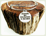 Seashells are Love letters in the sand Bracelet, Seashells are Love Letters in sand Bangle, Handmade Inspirational Jewelry, Beachy Boho Gift