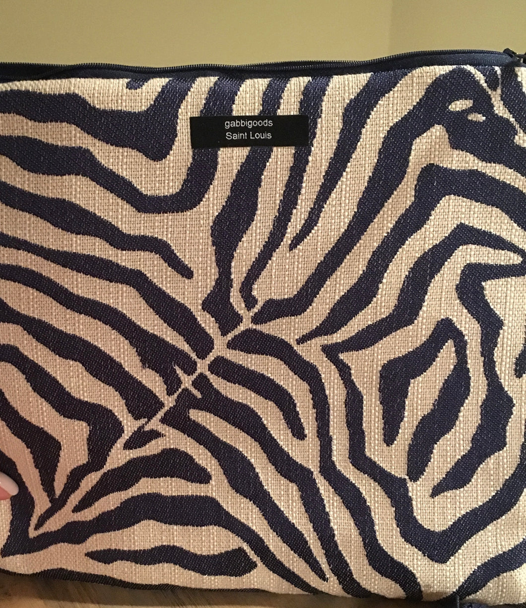 iPad Case Navy and Cream  Zebra Animal Print