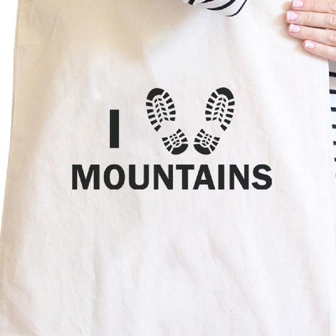 I Heart Mountains Natural Canvas Bag Gift Ideas For Hiking Lovers - Rising Star Leggings