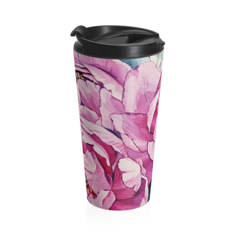 Pink Peonies Stainless Steel Travel Mug - Rising Star Leggings