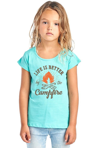 Life Is Better By The Campfire Round Neck Short - Rising Star Leggings
