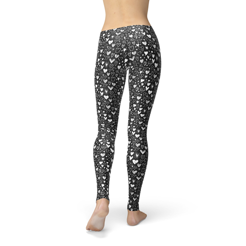 Be Active Black and White Hearts - Rising Star Leggings