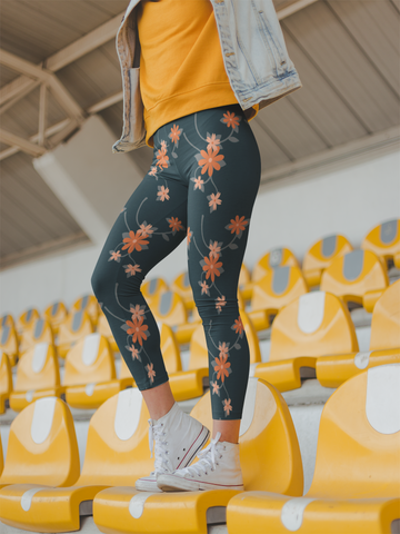 Be Active Orange Flowers Leggings - Rising Star Leggings